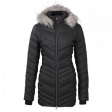Timeless Long Faux Fur Down Jacket Women's, Black, L by Spyder