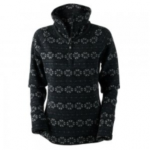 Brandi 1/2-Zip Fleece Top Women's, Black Snowflake Print, S by Obermeyer