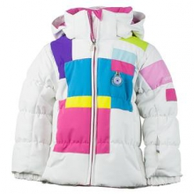 Kitt Insulated Ski Jacket Little Girls', White, 4 by Obermeyer