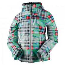 Tabor Print Insulated Ski Jacket Girls', Plaid Haze, L by Obermeyer
