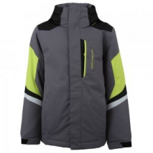 Fleet Insulated Ski Jacket Boys', Graphite/Screamin Green, XS by Obermeyer