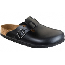 Boston Soft Footbed Black Amalfi Leather by Birkenstock