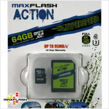 Max-Flash 64GB MicroSDXC Hyperspeed Action Cam Memory Card with Adapter by Maxflash