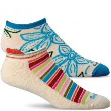 Awning Stripe/Full Bloom Socks -2 Pack Girls - Natural M/L by Goodhew