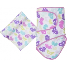 Muslin Swaddle - Butterflies Miracle Blanket & Swaddle Set