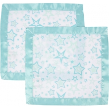 Security Blanket 2 Pack - Aqua Stars with Aqua Trim  by MiracleWare