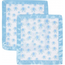 Security Blanket 2 Pack - Elephant with Blue Trim