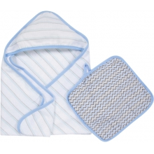 Hooded Towel & Washcloth Set - Blue & Gray MiracleWare Muslin by MiracleWare in Ashburn Va
