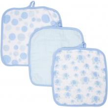 Baby Washcloths 3-pack - Elephants MiracleWare Muslin  by MiracleWare in Ashburn Va
