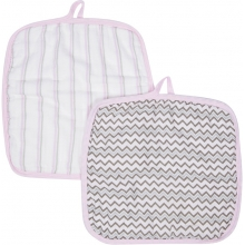 Baby Washcloths 2-pack - Pink MiracleWare Muslin  by MiracleWare in Ashburn Va