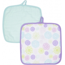 Baby Washcloths 2-pack - Colorful Bursts MiracleWare Muslin  by MiracleWare in Ashburn Va