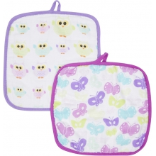 Baby Washcloths 2-pack - Butterflies & Owls MiracleWare Muslin  by MiracleWare in Ashburn Va