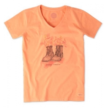 Happy Trails Boots Short Sleeve Crusher Vee - Women's - Fresh Peach In Size: XXL in Burbank, OH