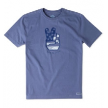 Peace Hand Short Sleeve Crusher Tee - Men's - Anchor Blue In Size: Large in Burbank, OH