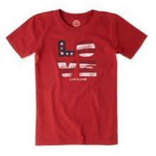 Love Flag Short Sleeve Crusher Tee - Women's - Flag Red In Size: Small in Burbank, OH