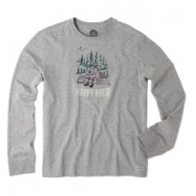 Happy Hour Camp Long Sleeve Crusher Tee - Men's - Heather Grey In Size by Life Is Good