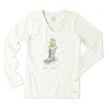 Happy Trails Crusher Vee Long Sleeve Tee - Women's - Simply Ivory In Size by Life Is Good