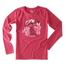 Lucky Dog Hibiscus Long Sleeve Crusher Tee - Women's - Rose Berry In Size: Small in Peninsula, OH