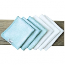 White / Blue Bamboo Washcloth by Copper Pearl
