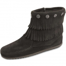 Women's Double Fringe Side Zip Boot by Minnetonka