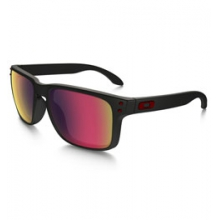 Holbrook Iridium Sunglasses - Men's - Matte Black/Red Iridium by Oakley in Madison NJ