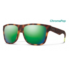 Lowdown XL Matte Tortoise Neon ChromaPop Sun Green Mirror by Smith Optics