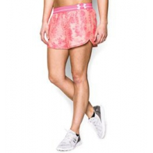 UA Printed Perfect Pace Shorts - Women's - Pink Shock/Black/Reflective In Size: Extra Small