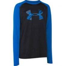 UA Tech Big Logo Long Sleeve T-Shirt - Boy's - Black/Blue Jet In Size: Large by Under Armour