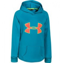 UA Rival Hoodie - Girl's - Pacific/After Burn Shimmer/X-Ray In Size: Small by Under Armour