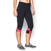 UA Fly-By Compression Capri - Women's - Black/Pink Shock/Reflective In Size: Extra Small by Under Armour