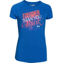UA Tougher Than You Think Short Sleeve T - Girl's - Ultra Blue/After Burn/White In Size by Under Armour