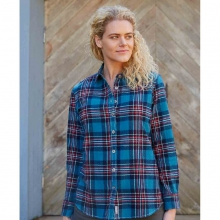 Women's Turqoise and Navy Flannel Plaid Shirt in State College, PA