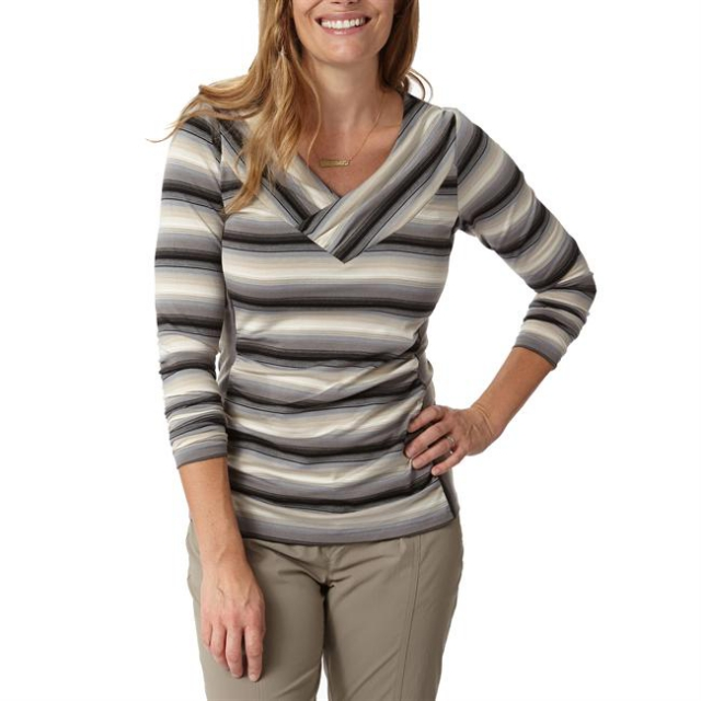 Royal Robbins - Women's Essential Tencel Stripe Vee Long Sleeve
