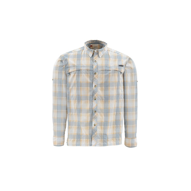 Platte River Fly Shop - Stone Cold Long Sleeve Fishing Shirt Closeout Sale - SLATE BLUE PLAID,S