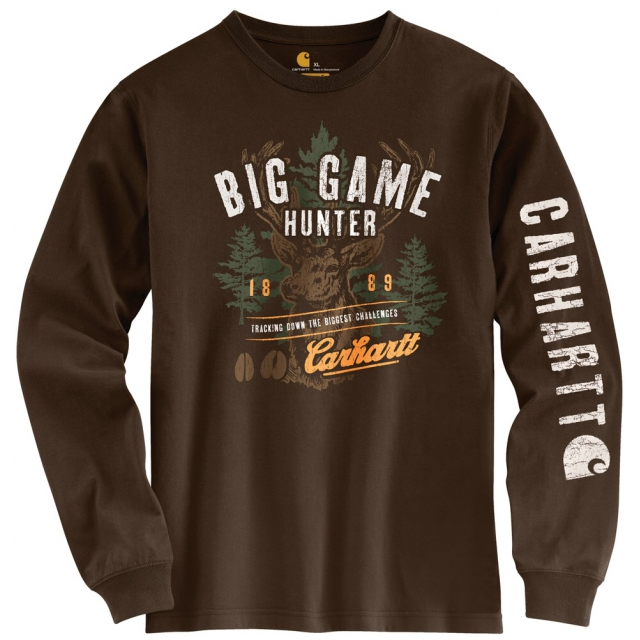 Carhartt - Men's Graphic Big Game Hunter L/S T-Shirt Dark Brown