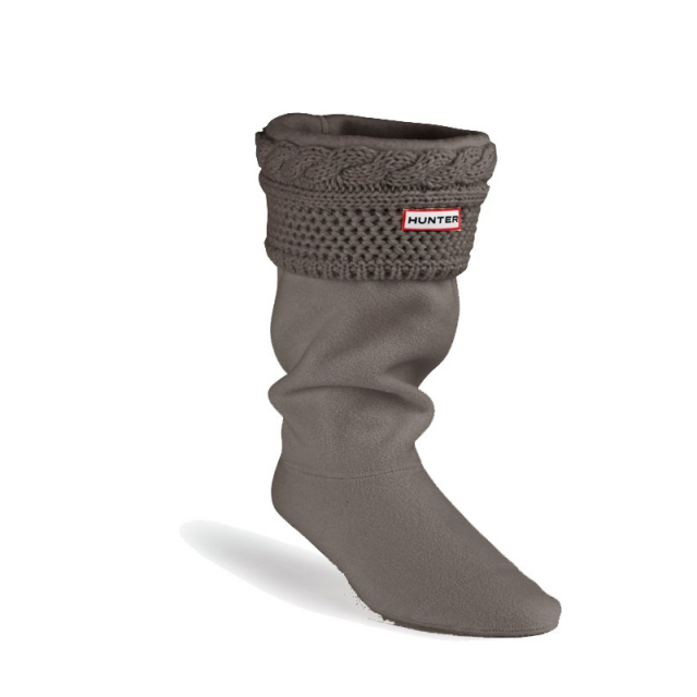 Hunter - Women's Moss Cable Cuff Welly Socks Graphite M
