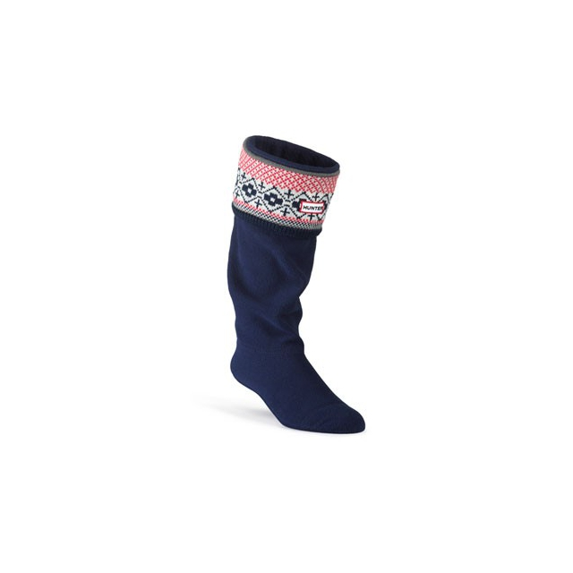 Hunter - Fairisle Cuff Welly Socks-Grey/Chocolate-L