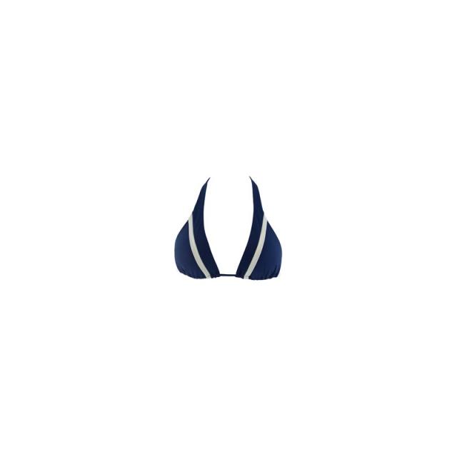 L Space - Womens Malibu Triangle Bikini Top - Closeout Steel Blue/Cream