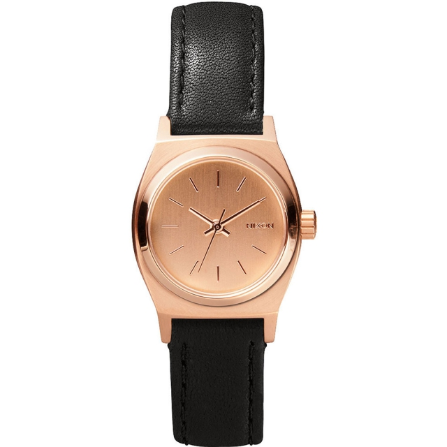 Nixon - Small Time Teller Leather Watch Womens - All Rose Gold/Black