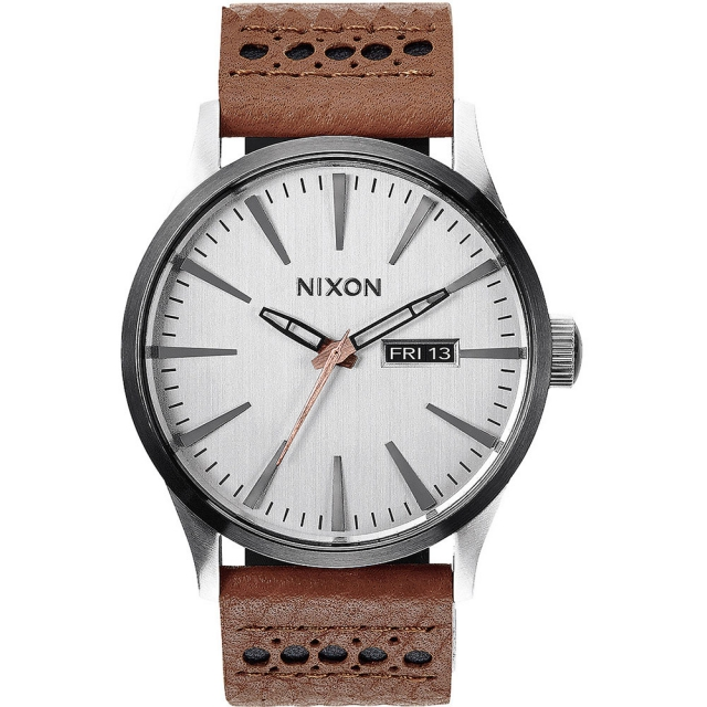 Nixon - Sentry Leather Watch Mens - Black/Saddle