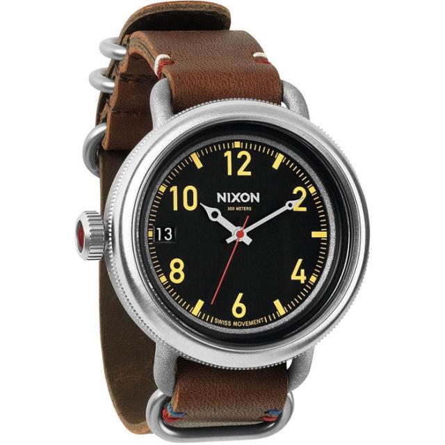 Nixon - October Leather Watch Mens - Black/Brown