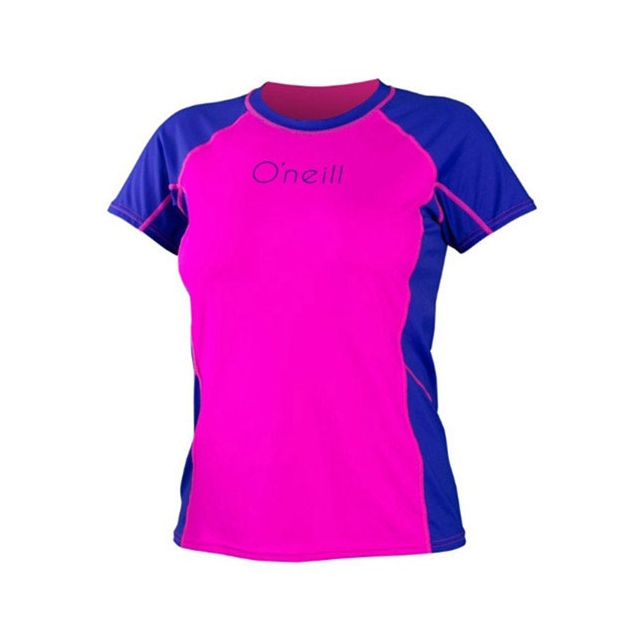 O'Neill - Skins Color Block Rash Tee - Women's: Berry/Cobalt, Small