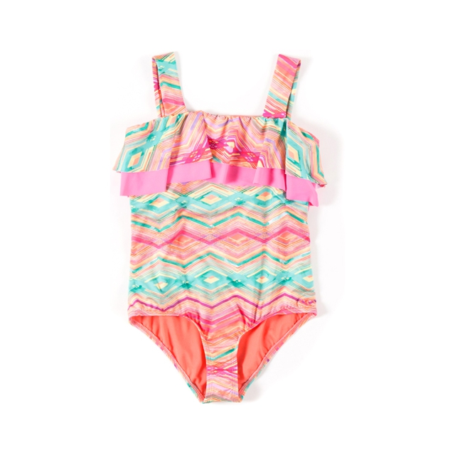 O'Neill - Sunsets Ruffle One Piece - Girl's: Coral, 7