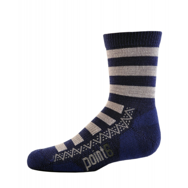 Point6 - Kids Nautical Stripe Light Crew Sock - Navy/Silver - Large