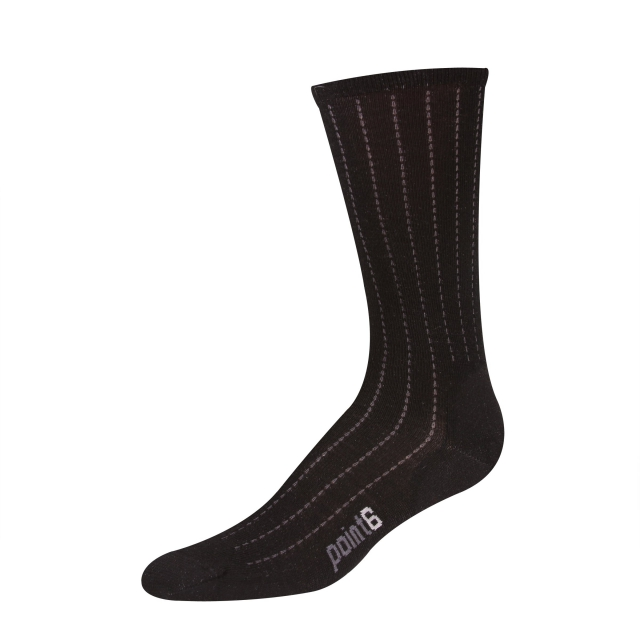 Point6 - Vertical Pinstripe Ultra Light Crew Sock - Black - Large