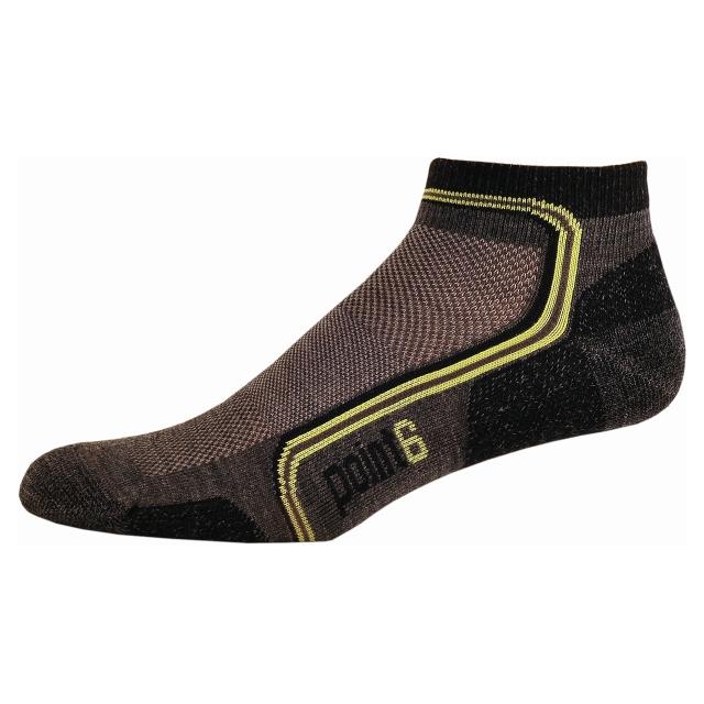 Point6 - Running Flash Extra Light Mini Crew Sock - Men's Gray/Lime Large