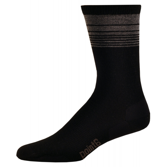 Point6 - Lifestyle Wall Street Ultra Light Crew Sock - Men's Black Large