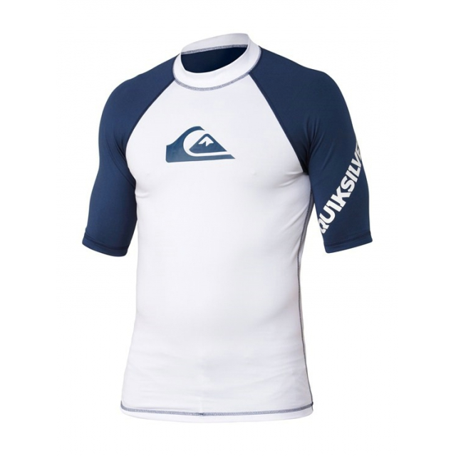 Quiksilver - Boy's All Time SS Rashguard White/White/Blue 6
