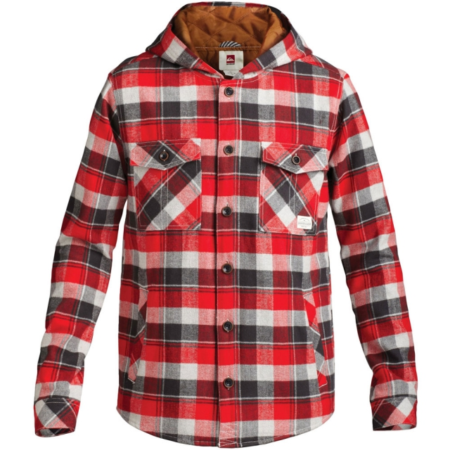 Quiksilver - Wight Hooded Long Sleeve Shirt Mens - Formula One Plaid L