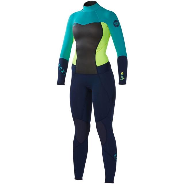 Quiksilver - Roxy Synchro 3/2 Back Zip Wetsuit Mens - Black/Green/Green 4